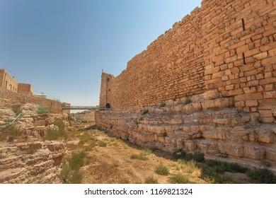 Defensive wall and ditch of crusader castle Kerak  (Al Karak), Jordan