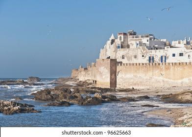 Defensive walls of Essaouira city along the atlantic ocean coast, Morocco