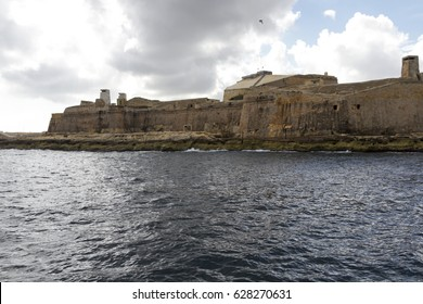 The defensive walls of the fortress of Valletta, Malta