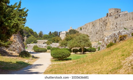 Defensive walls of old Rhodes city in Greece