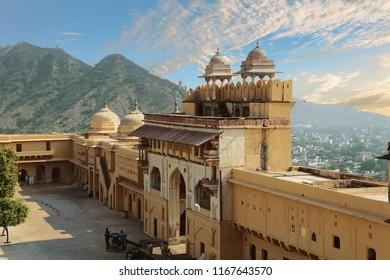 Defensive walls and turrets on ridge near  Amber Fort near  Jaipur, Rajasthan, India