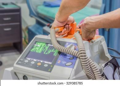 defibrillator machine blur background