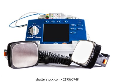 a defibrillator unit isolated over a white background