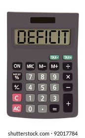 deficit on display of an old calculator on white background