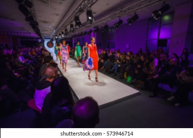 Defile on fashion show, defocused
