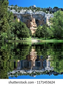 defile reflected in the river, Home of vultures, Canyon of the Wolves River, Soria, Spain,