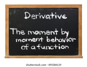 The definition of a calculus derivative written in white chalk on a black chalkboard isolated on white