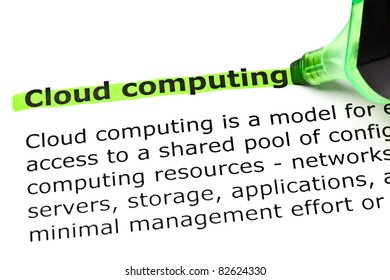 Definition of Cloud computing highlighted in green with felt tip pen.