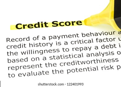 Definition of Credit Score highlighted in yellow with felt tip pen