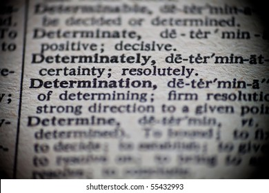 The definition of Determination is focused upon in an old dictionary.