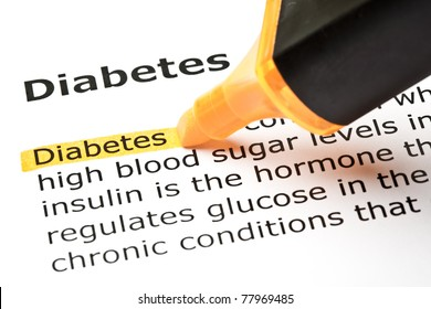 Definition of Diabetes highlighted with orange marker.