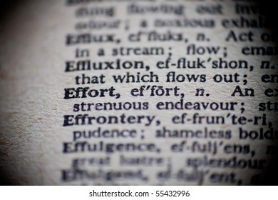 The definition of Effort is focused upon in an old dictionary.
