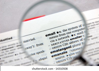 Definition of email emphasized by a magnifying glass
