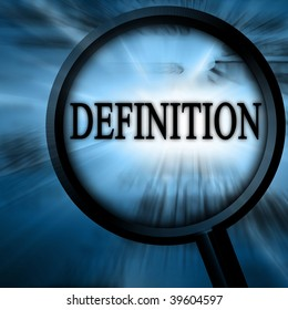 definition on a blue background with a magnifier