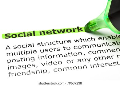 Definition of Social Network highlighted with green marker.