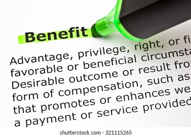 Definition of the word Benefit, highlighted with green marker.