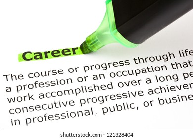 Definition of the word Career highlighted in green with felt tip pen