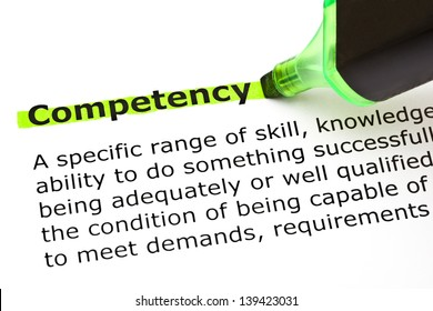 Definition of the word Competency highlighted with green marker.