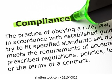 Definition of the word Compliance, highlighted with green felt tip pen.