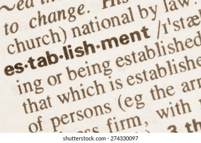 Definition of word establishment in dictionary