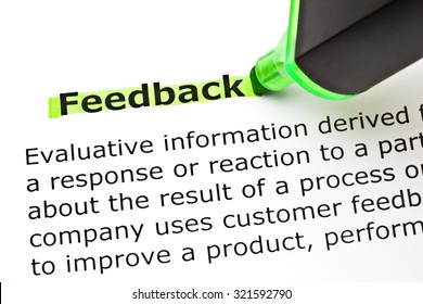 Definition of the word Feedback, highlighted with green felt tip pen.