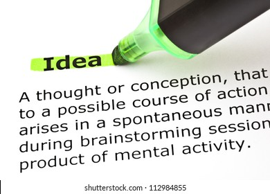 Definition of the word Idea highlighted in green with felt tip pen