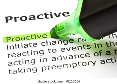 Definition of the word Proactive highlighted in green with felt tip pen.