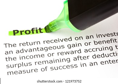 Definition of the word Profit highlighted in green with felt tip pen