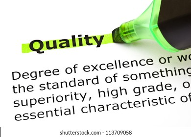 Definition of the word Quality highlighted in green with felt tip pen