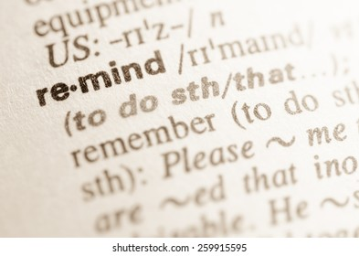 Definition of word remind in dictionary