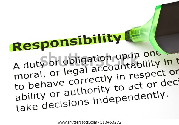 Definition Word Responsibility Highlighted Green Felt ...
