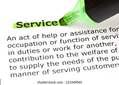 Definition of the word Service, highlighted in green with felt tip pen