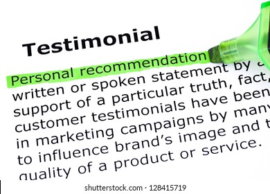 Definition of the word Testimonial, Personal Recommendation highlighted with green marker.