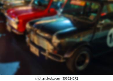 Defocus abstract of many classic austin mini cars