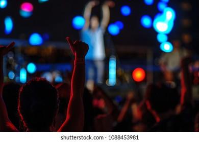Defocus background audiences enjoy in concert music festival
