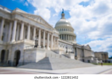 Defocus background of the US Capitol Building complex under bright skies in Washington, DC, USA