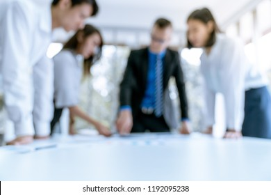 Defocus blur background Young business people are presented marketing work project to the customer in meeting room office