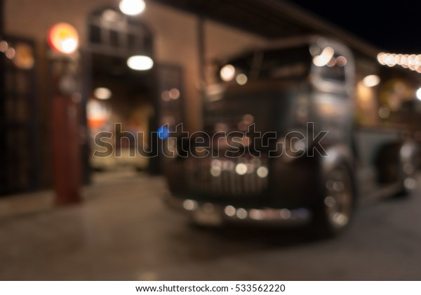 defocus or blur image of retro car and truck, effect by vintage style