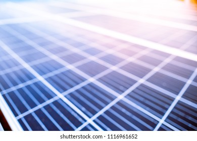 Defocus blurry background of solar cell panels new alternative electric energy