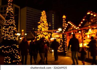 Defocus Christmas market of Berlin at night