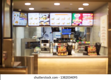 defocus of Fast food restaurant, burger shop store interior, abstract blur background
