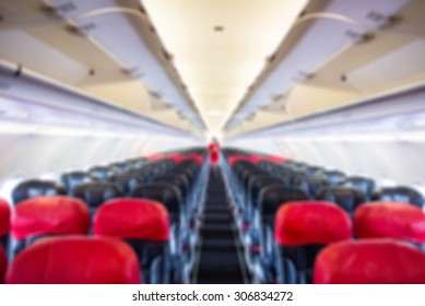 defocus  interior of the passenger airplane
