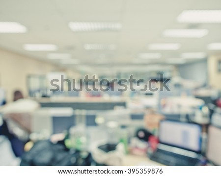 Defocus Office Space Background,Abstract Office Blur Background With  Laptop/pc And Display,