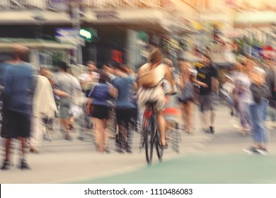 Defocused abstract blur background of people cross street