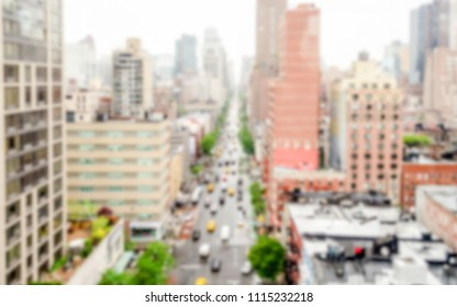 Defocused background with aerial view of 1st Avenue, NYC. Intentionally blurred post production for bokeh effect