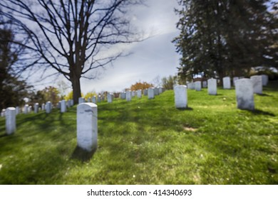 Defocused background. Arlington National Cemetery in Washington.