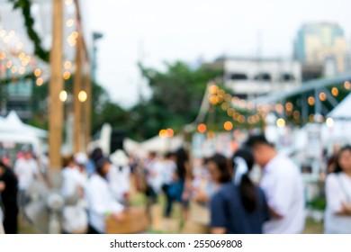 Defocused background decoration light at festival area in market