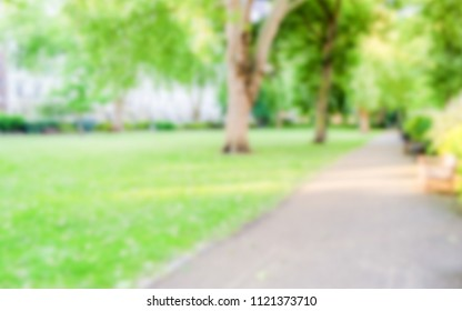 Defocused Background of Gardens in Pimlico, London, UK. Intentionally blurred post production