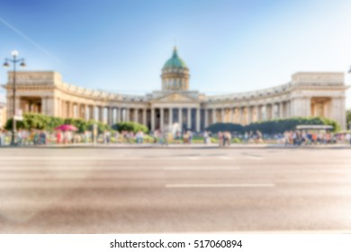 Defocused background of Kazan Cathedral in St. Petersburg, Russia. Intentionally blurred post production for bokeh effect