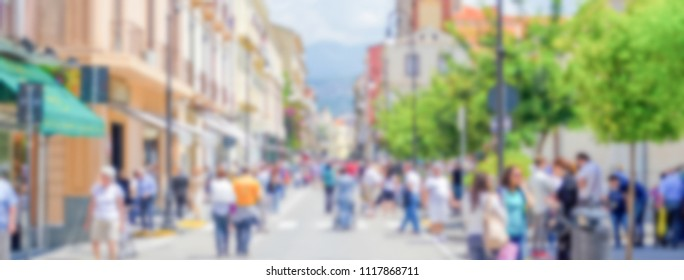 Defocused background of the main street in Sorrento, Italy. Intentionally blurred post production for bokeh effect